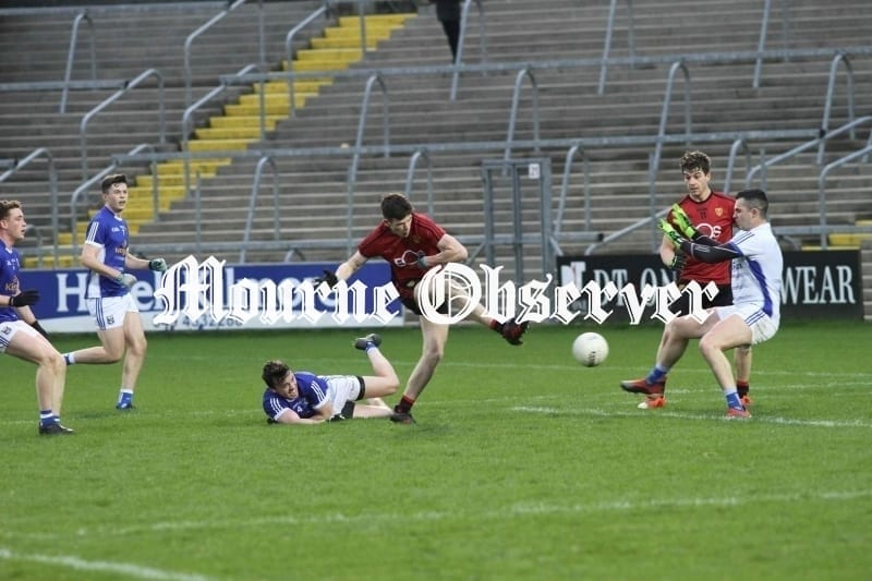 Downs-Shane-Annett-could-have-finished-the-game-of-here-as-he-shoots-straight-at-the-Cavan-keeper-Raymond-Galligan