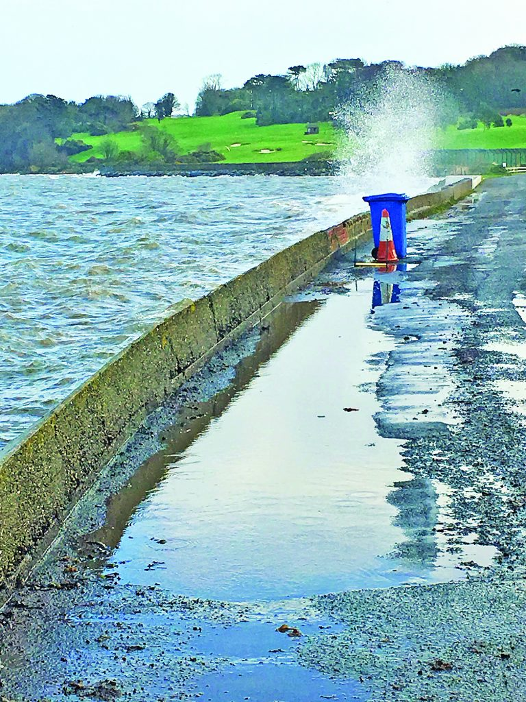 Seawater spouts up through a new 'blow hole' in coastal path