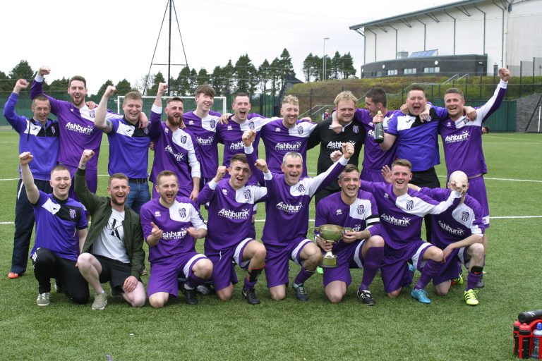 Keeper's goal clinches it as Ballynahinch YM win Newcastle League Division Two title