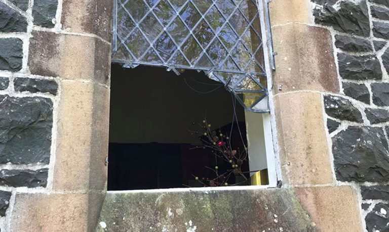 Historic church windows damaged during burglary