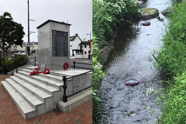 Wreaths damaged at Kilkeel war memorial