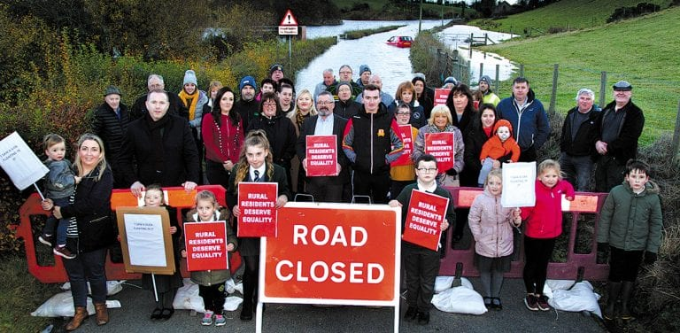 Residents call for urgent action to tackle flooding on rural road