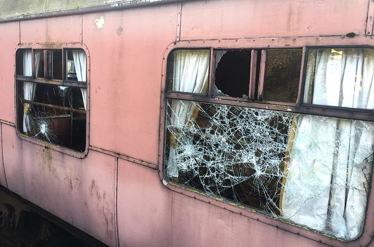 Train carriage windows smashed at heritage railway