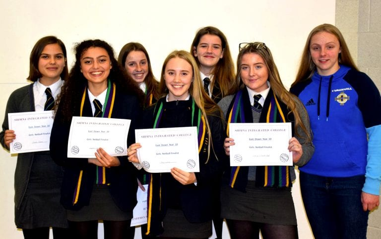 Northern Ireland Ladies goalkeepers presents sports awards at Shimna College