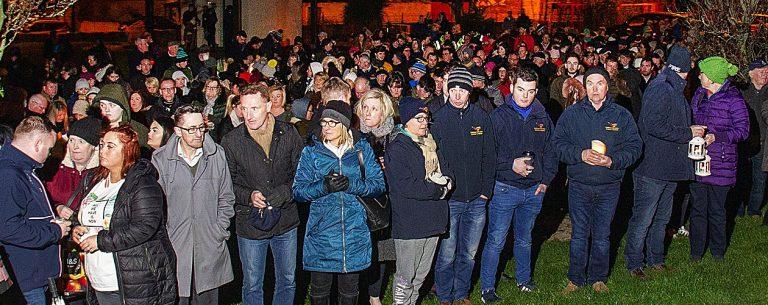 Hundreds attend candlelit vigil following triple tragedy