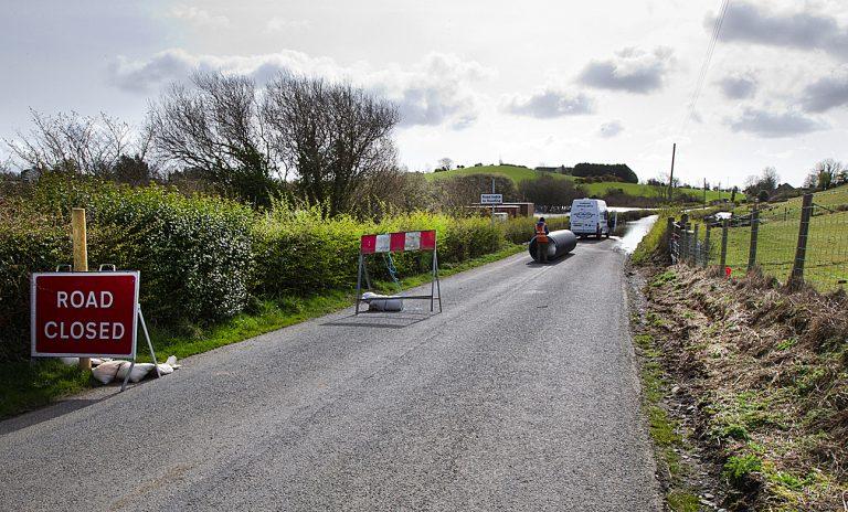 Flood alleviation work is carried out along Carnreagh Road