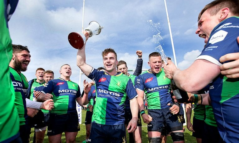 Ballynahinch Rugby Club Firsts win AIB 1B title Fourths retained Crawford Cup at Kingspan