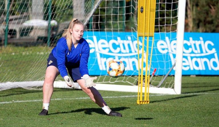 Goalkeeper Lauren in Belarus with Northern Ireland squad