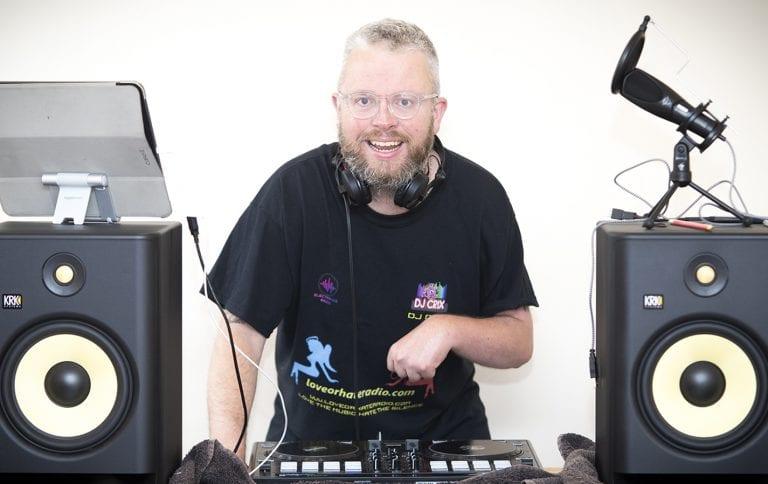 Chris living out his DJ dreams